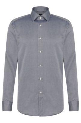 Twill Italian Cotton Dress Shirt, Regular Fit | T-Stuart, Black