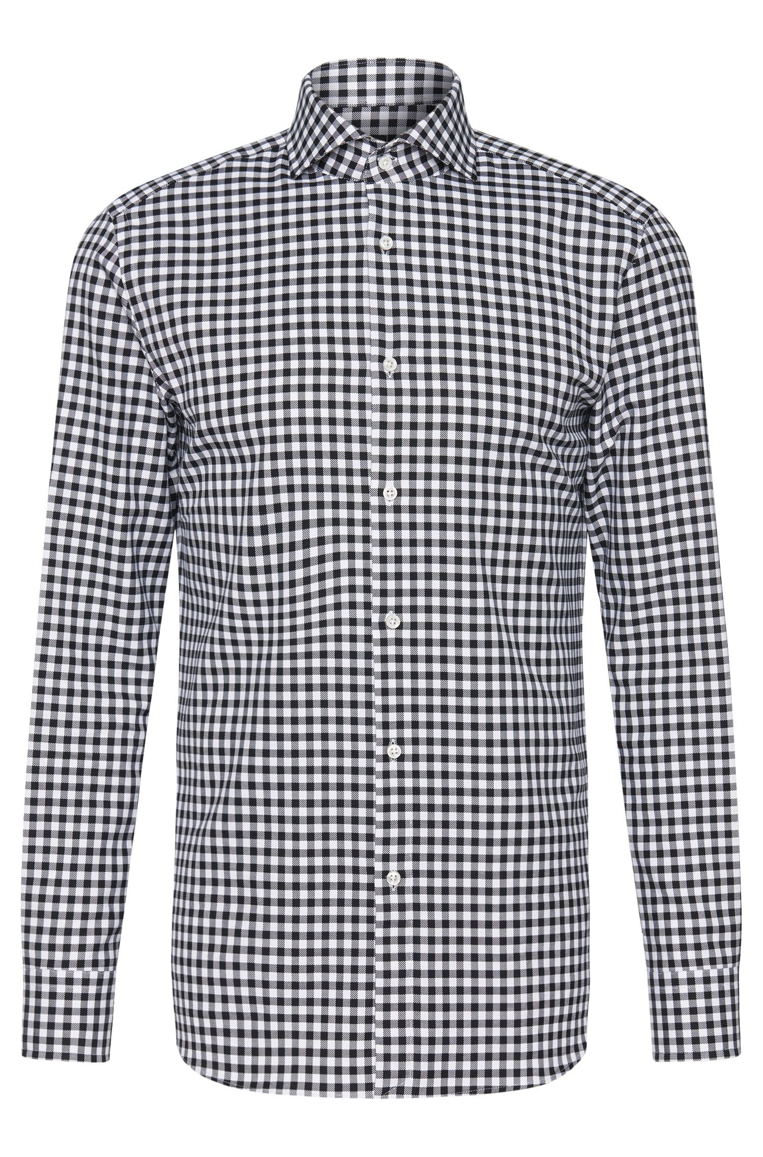 Checked Italian Cotton Dress Shirt, Slim Fit | T-Christo