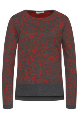 'Emka' | Cotton Blend Abstract Intarsia Sweater, Patterned