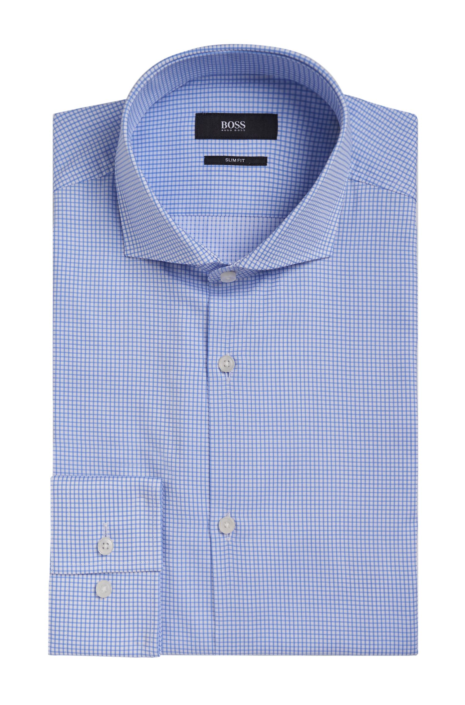Grid Check Cotton Dress Shirt, Slim Fit | Jason