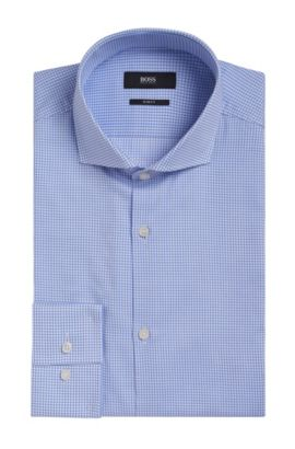 Grid Check Cotton Dress Shirt, Slim Fit | Jason, Light Blue