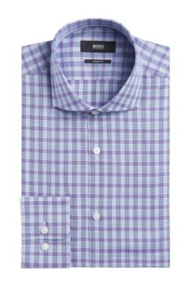 Plaid Cotton Dress Shirt, Sharp Fit | Mark US , Dark Purple