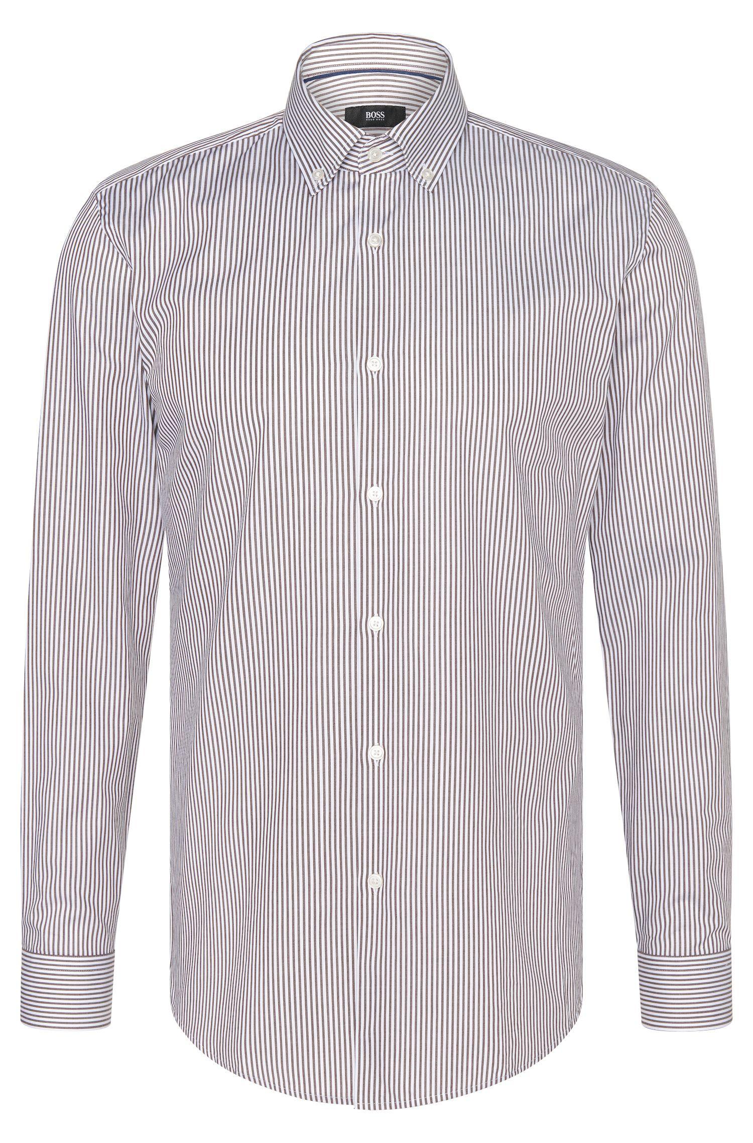 'Ismar' | Slim Fit, Cotton Twill Stripe Dress Shirt