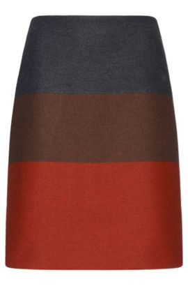 'Malivi' | Wool Cashmere Blend Twill Colorblocked Straight Skirt, Patterned