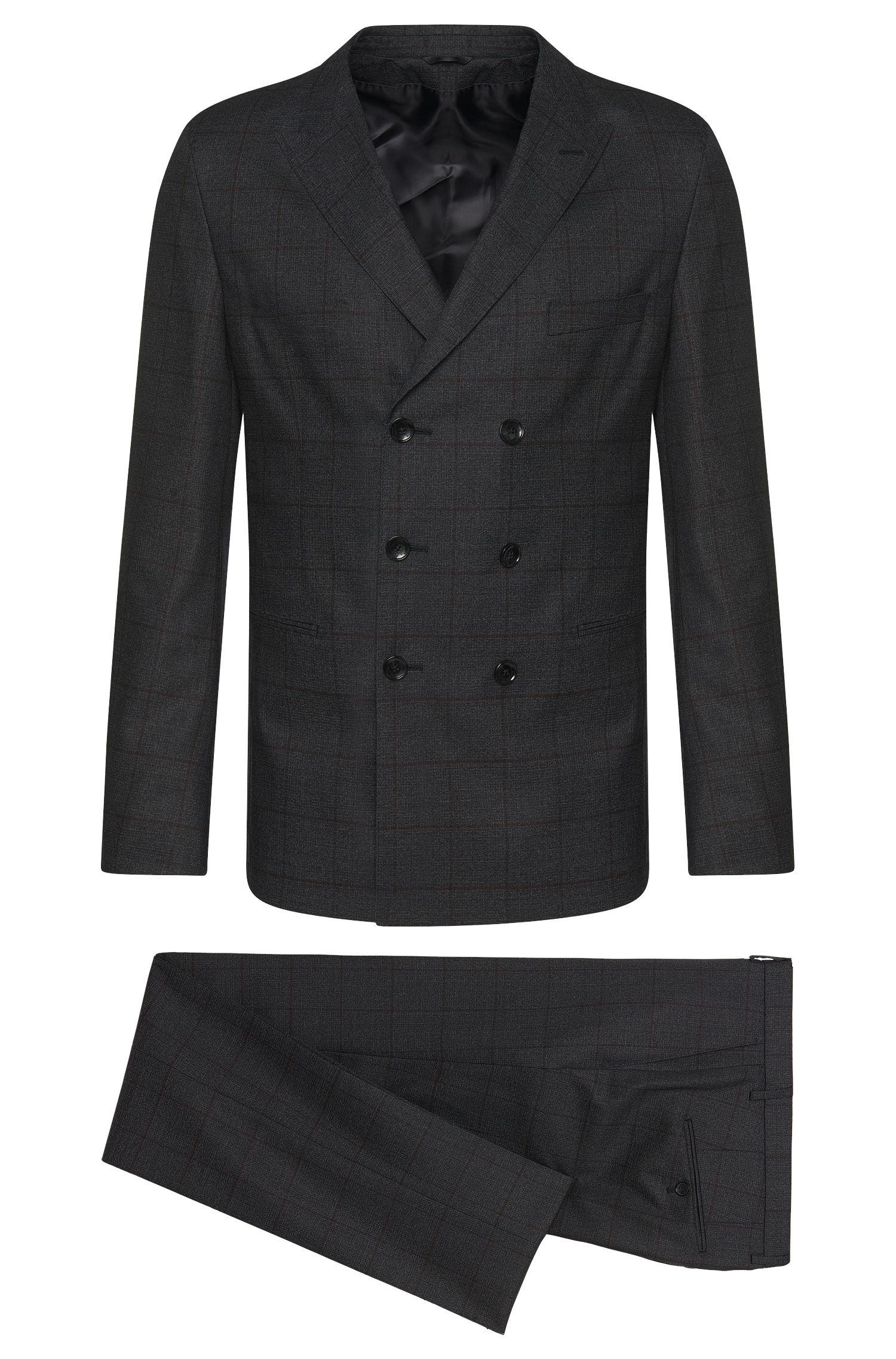 Windowpane Italian Virgin Wool Double-Breasted Suit, Slim Fit   T-Noan/Baron
