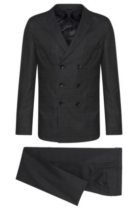 Windowpane Italian Virgin Wool Double-Breasted Suit, Slim Fit | T-Noan/Baron, Open Grey
