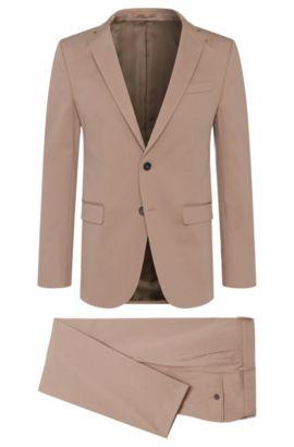 Stretch Cotton Suit, Slim Fit   Novan/Ben, Beige
