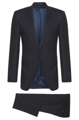 Crosshatch Super 150 Italian Wool Suit, Extra-Slim Fit | T-Reeve/Wain, Dark Blue