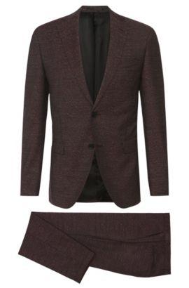 Italian Virgin Wool Melange Suit, Extra-Slim Fit  Reyno/Wave, Dark Red