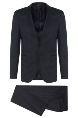 Subtle Stripe Virgin Wool Suit, Extra Slim Fit | Rocco/Wyatt, Dark Blue