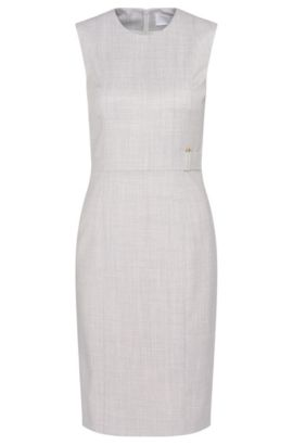 'Dyflena' | Stretch Virgin Wool Sheath Dress, Light Beige