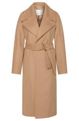'Cordina' | Virgin Wool, Cashmere Belted Coat, Open Brown