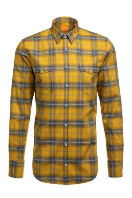 'EdoslimE' | Slim Fit, Cotton Plaid Button Down Shirt, Green