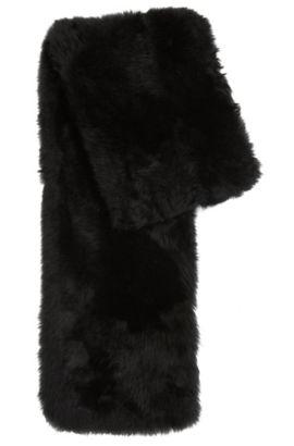 'Scapie' | Brushed Lambskin Fur Scarf, Black