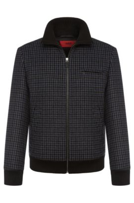 'Belvor' | Wool Blend Houndstooth Bomber Jacket, Dark Blue