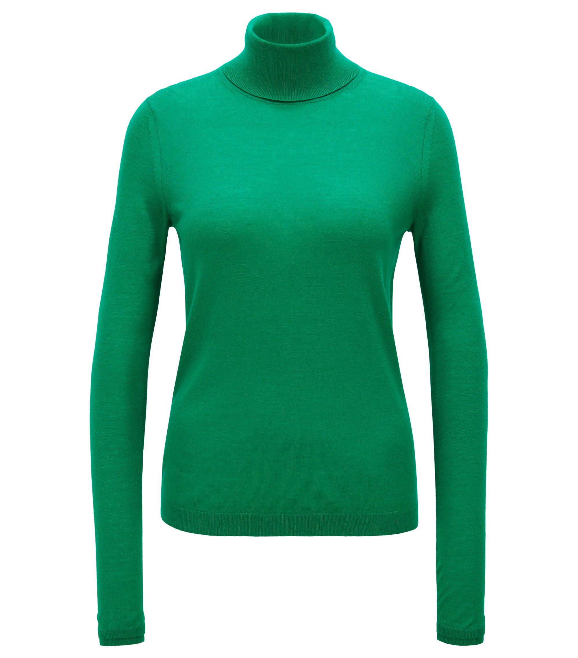 Slim-fit roll-neck sweater in mercerized virgin wool, Open Green