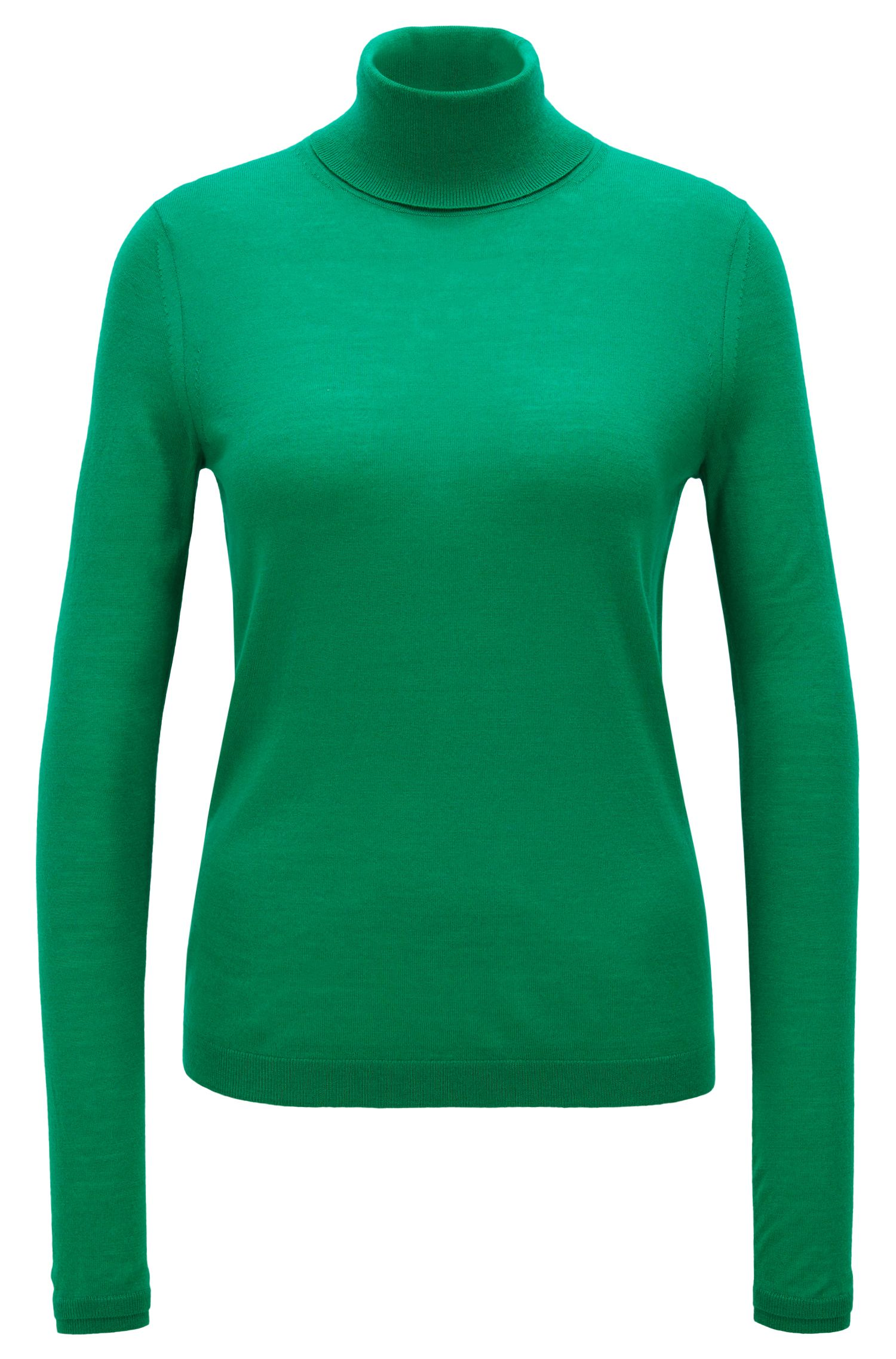 Slim-fit roll-neck sweater in mercerized virgin wool, Open Green