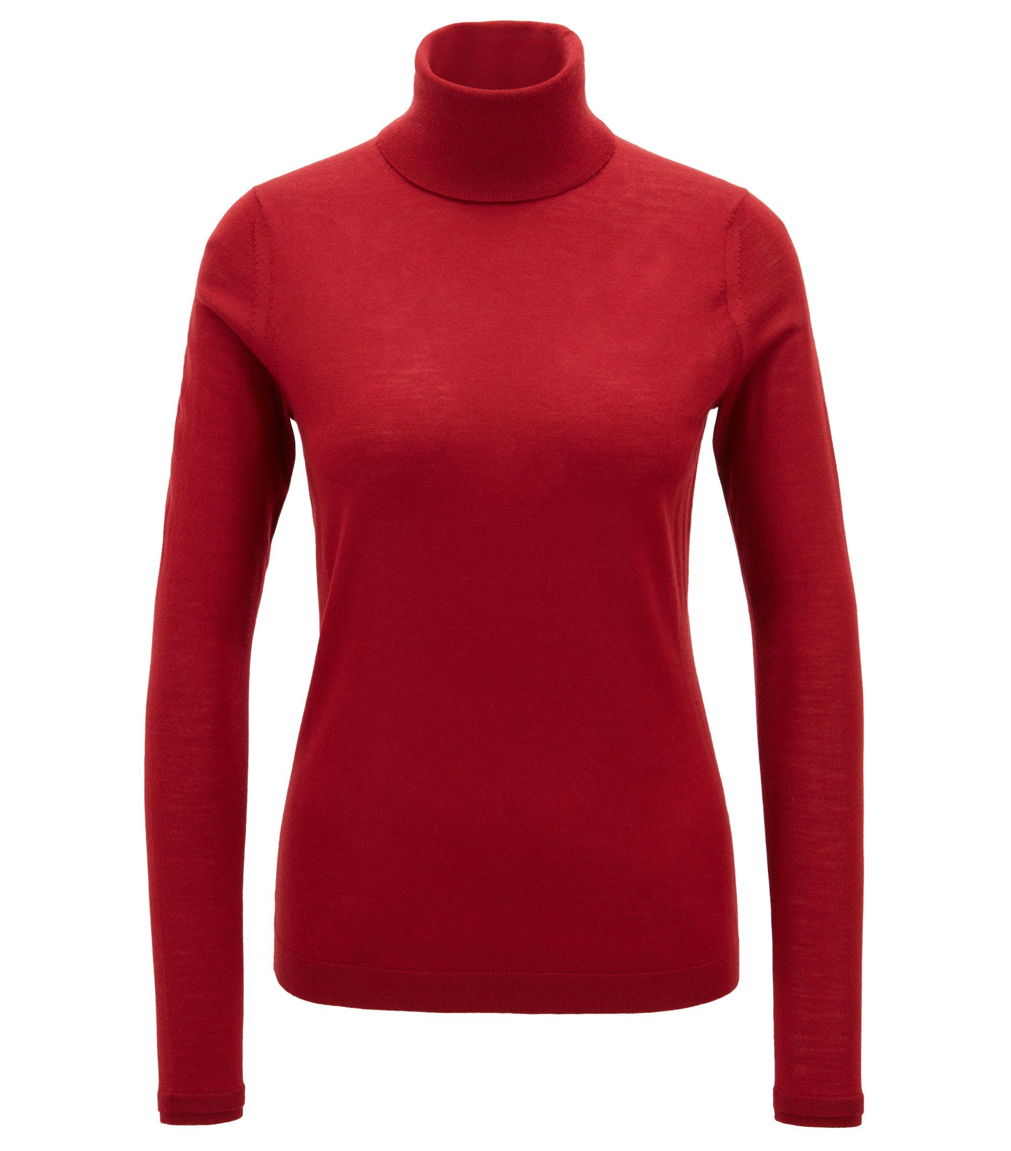 Slim-fit roll-neck sweater in mercerized virgin wool, Dark Red