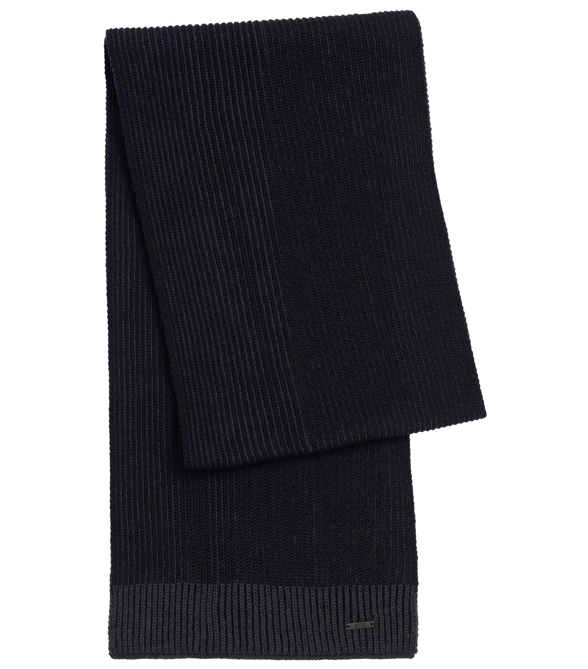 Virgin Wool Contrast Knit Scarf | Balios, Dark Blue