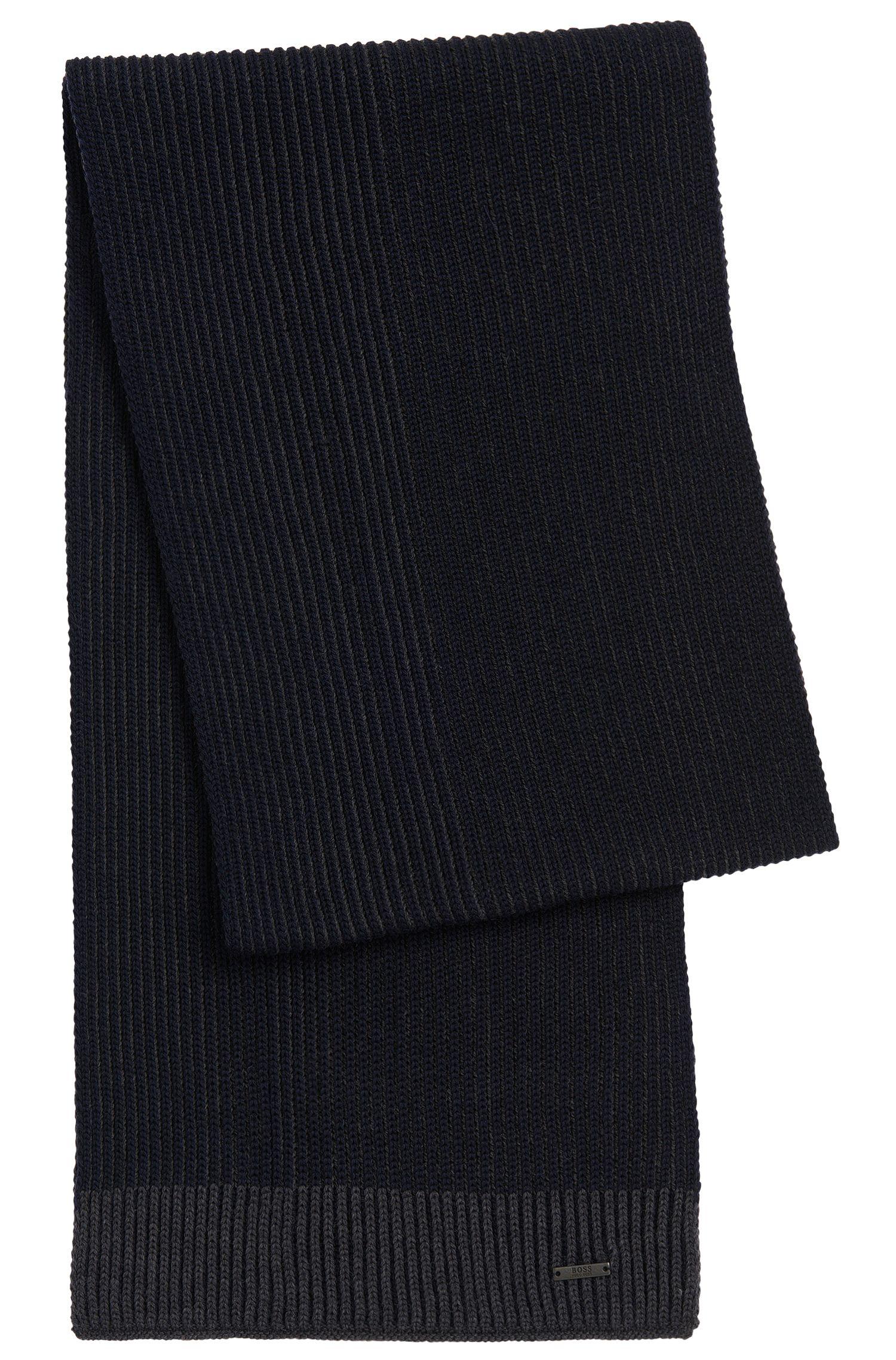 Virgin Wool Contrast Knit Scarf | Balios