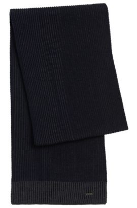 Virgin Wool Contrast Knit Scarf | Balios, Dark Blue