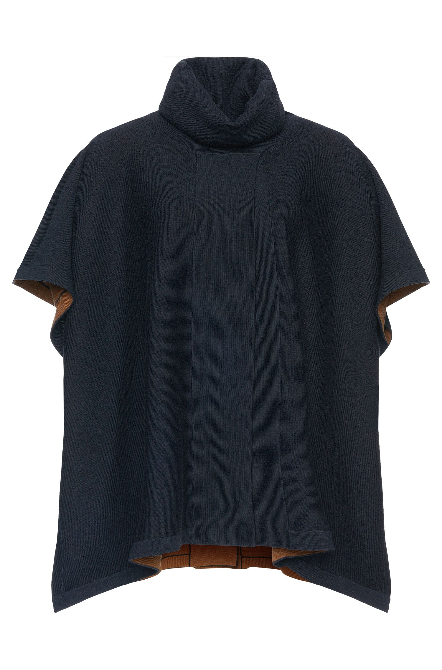 'Lerico' | Virgin Wool Reversible Turtleneck Cape