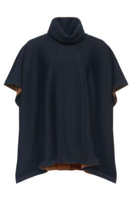 'Lerico' | Virgin Wool Reversible Turtleneck Cape, Patterned