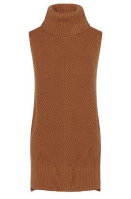 'Fala'   Virgin Wool Cashmere Yak Ribbed Sleeveless Turtleneck, Brown