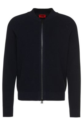 'Saio' | Virgin Wool Cotton Textured Zip Cardigan, Dark Blue