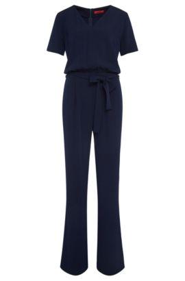 'Kalucca' | Crepe V-Neck Belted Jumpsuit, Open Blue