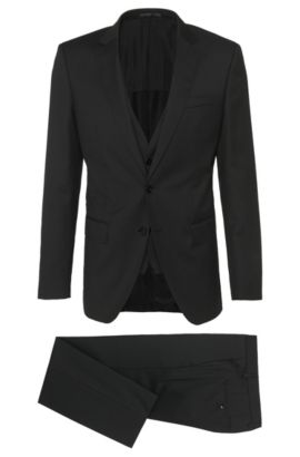 Super 100 Virgin Wool 3-Piece Suit, Slim Fit | Huge/Genius WE, Black