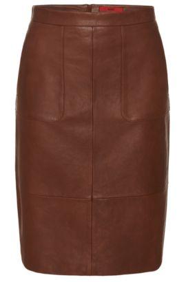 'Labika' | Lambskin Pencil Skirt, Brown