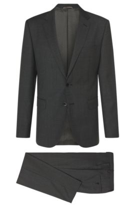 Birdseye Super 110 Italian Wool Suit, Regular Fit | Jewels/Linus, Charcoal