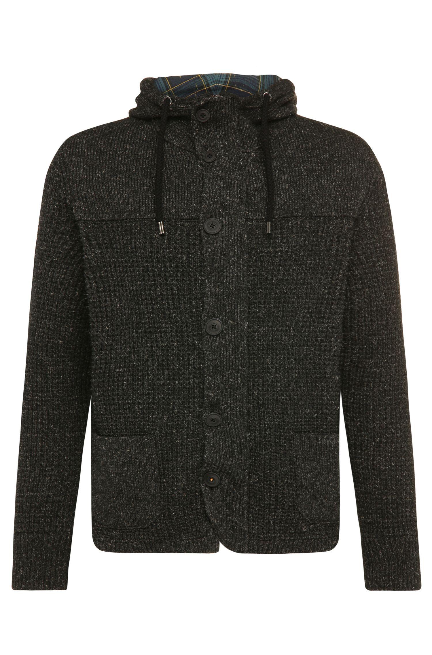 'Korpa' | Wool Linen Blend Hooded Cardigan