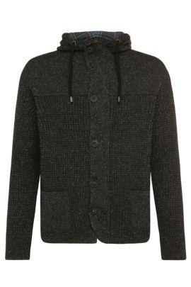 'Korpa' | Wool Linen Blend Hooded Cardigan, Black
