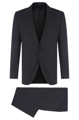 Super 110 Italian Virgin Wool Suit, Regular Fit | Johnstons/Lenon, Charcoal