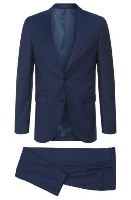 Striped Super 120 Italian Virgin Wool Suit, Slim Fit | Novan/Ben, Dark Blue
