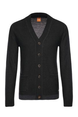'Arreb'   Virgin Wool Cardigan, Dark Grey