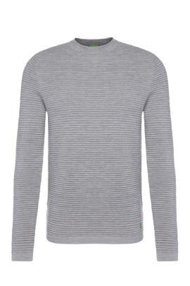 'Ree' | Virgin Wool Ottoman Rib Sweater, Light Grey
