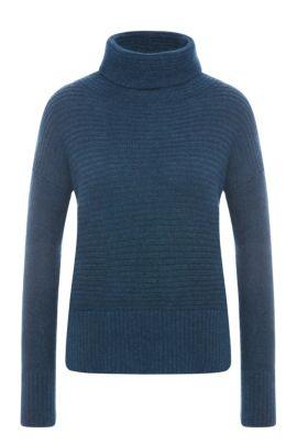 'Wilke' | Italian Alpaca Wool Blend Funnel Neck Sweater, Dark Blue