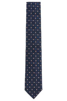'Tie 7.5 cm' | Regular, Italian Silk Patterned Tie, Dark Blue