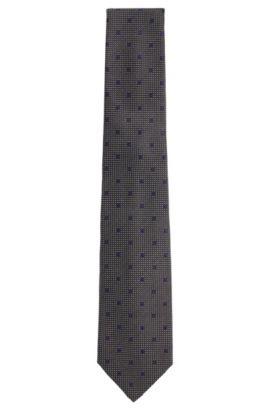 'T-Tie 7.5 cm'   Regular, Italian Silk Patterned Tie, Charcoal