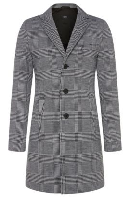 'Shawn' | Stretch Virgin Wool Neoprene Glen Plaid Car Coat, Charcoal