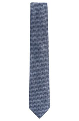 'Tie 7 cm' | Regular, Italian Silk Embroidered Tie , Light Blue