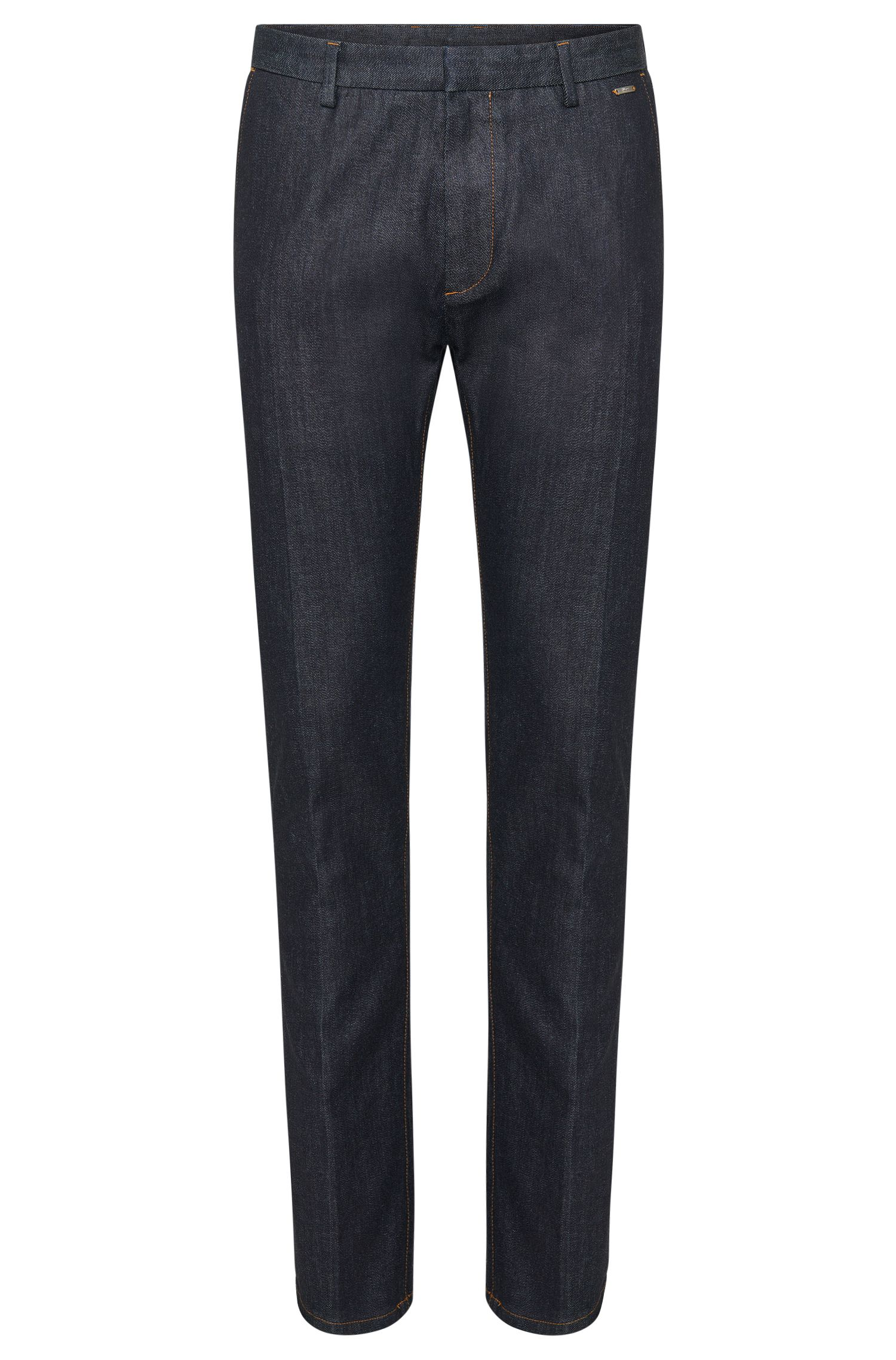 'Helgo-W' | Tapered Fit, Coated Cotton Blend Denim Trousers