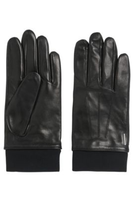 'Herbo' | Lambskin Leather Gloves, Black