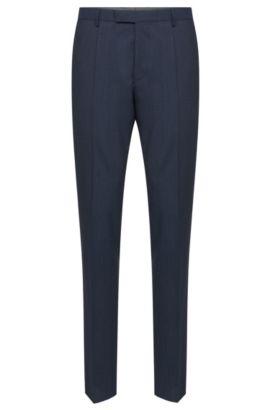 'Leenon' | Regular Fit, Super 100 Virgin Wool Check Dress Pants, Dark Blue