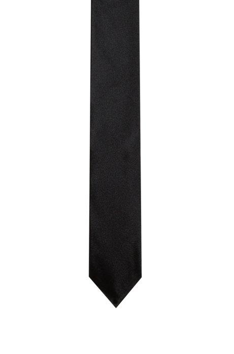 Jacquard tie in fine silk , Black