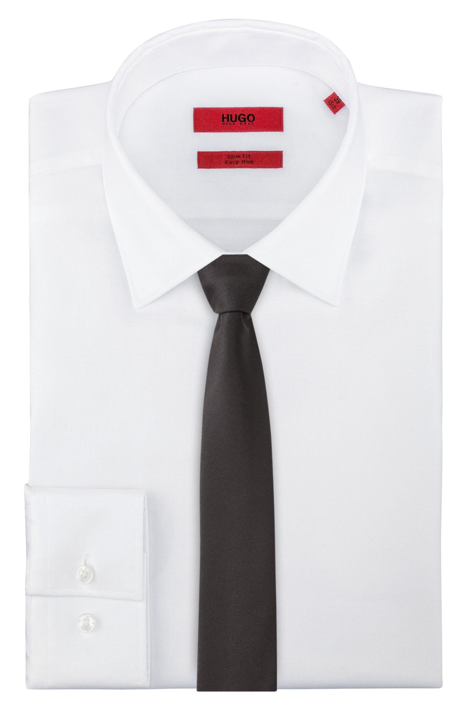 Virgin Wool Slim Tie , Black