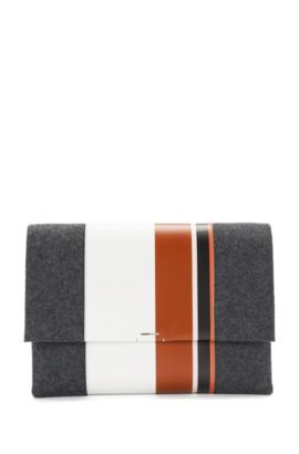 'Luxury Staple C-PF'   Calfskin Wool Clutch with Chain Strap, Charcoal
